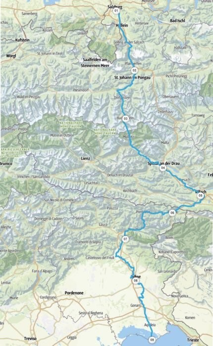 """Il percorso della """"Ciclovia AlpeAdria Radweg"""" da Salisburgo a Grado"""